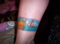 Seascape with ship qualitative tattoo